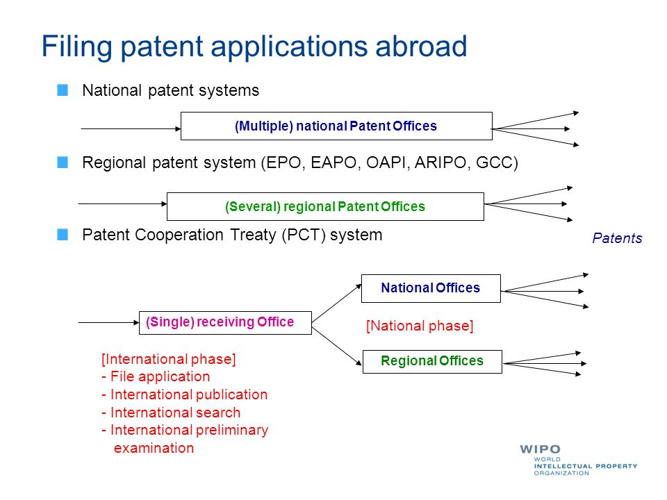 (Multiple) national Patent Offices (Several) regional Patent Offices