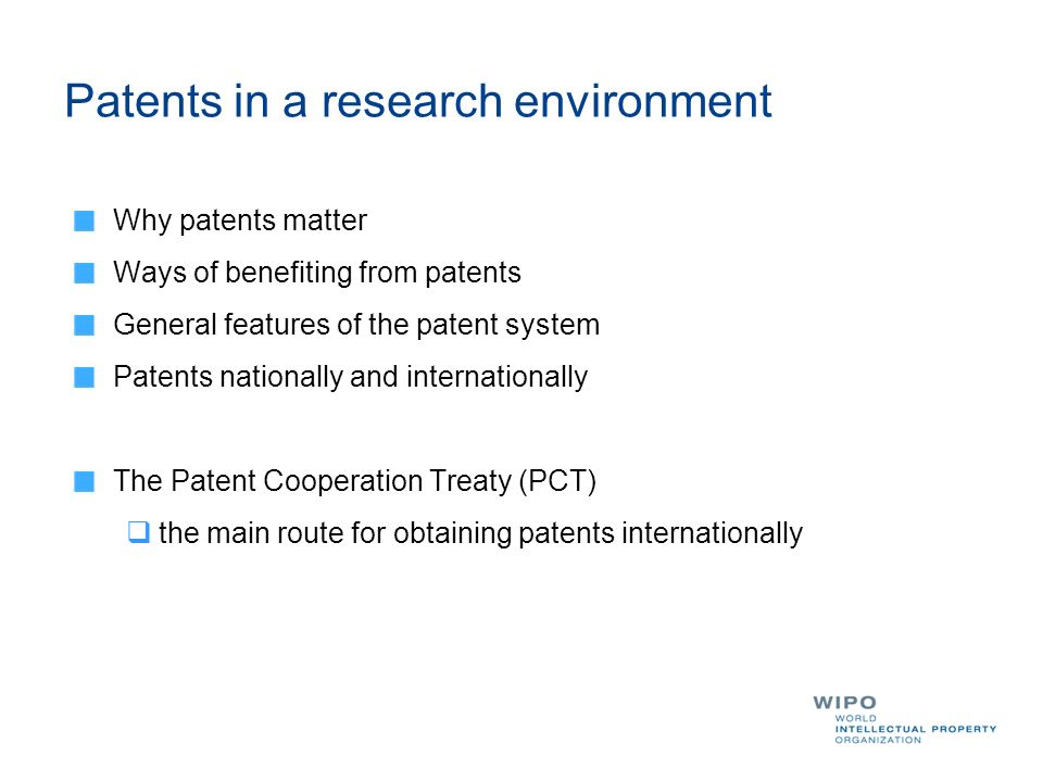 Patents in a research environment
