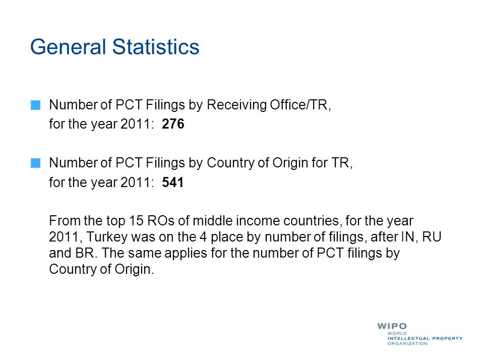 General Statistics Number of PCT Filings by Receiving Office/TR,