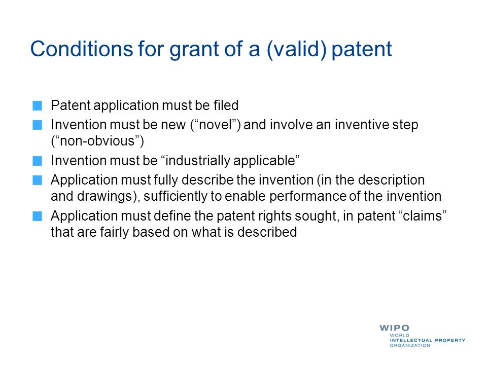 Conditions for grant of a (valid) patent