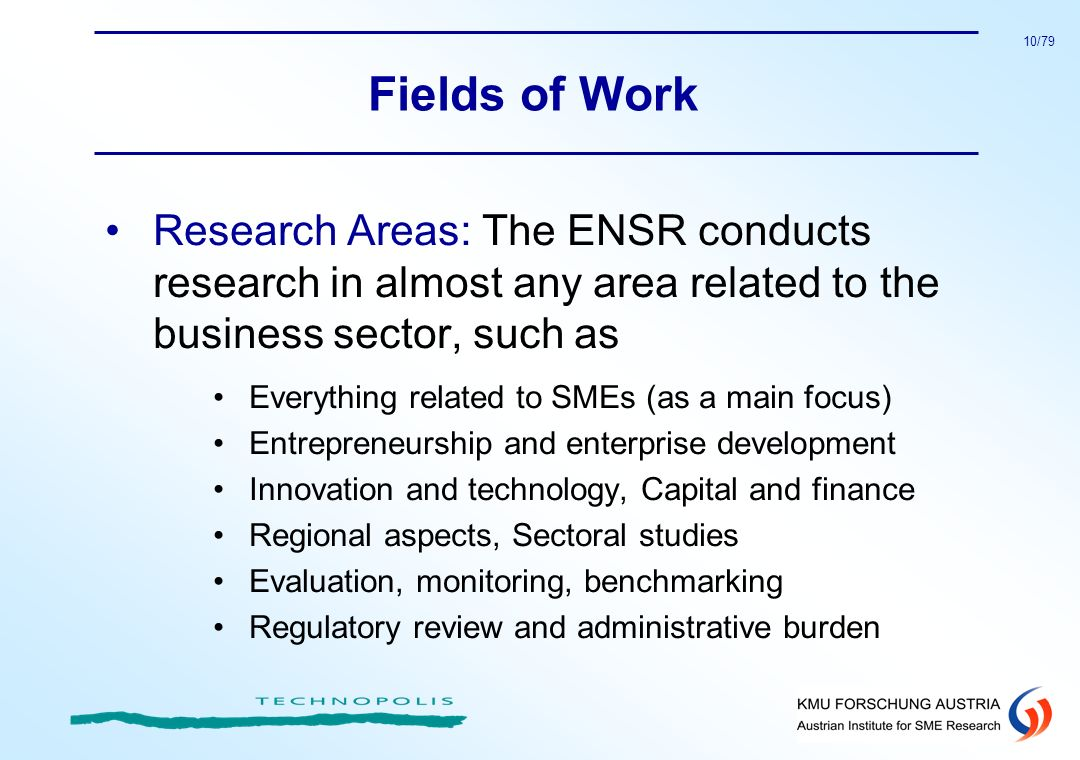 Fields of Work Research Areas: The ENSR conducts research in almost any area related to the business sector, such as.