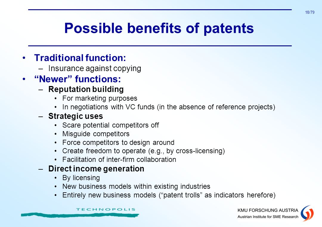 Possible benefits of patents