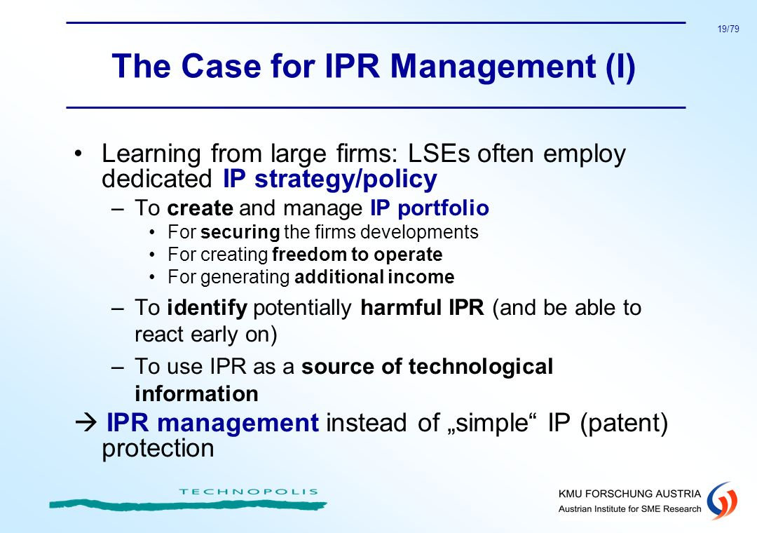 The Case for IPR Management (I)