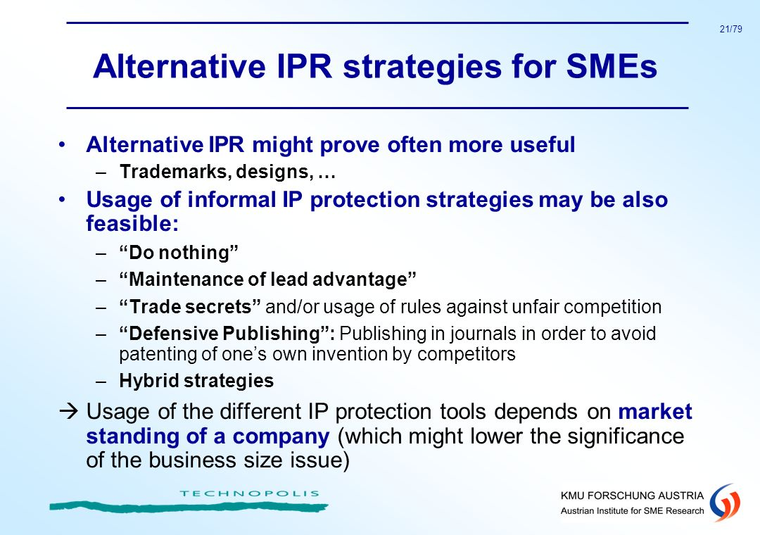 Alternative IPR strategies for SMEs