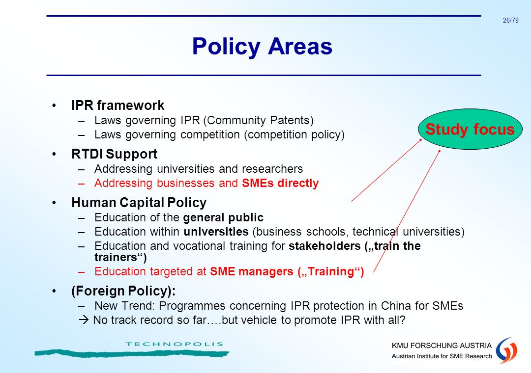Policy Areas Study focus IPR framework RTDI Support