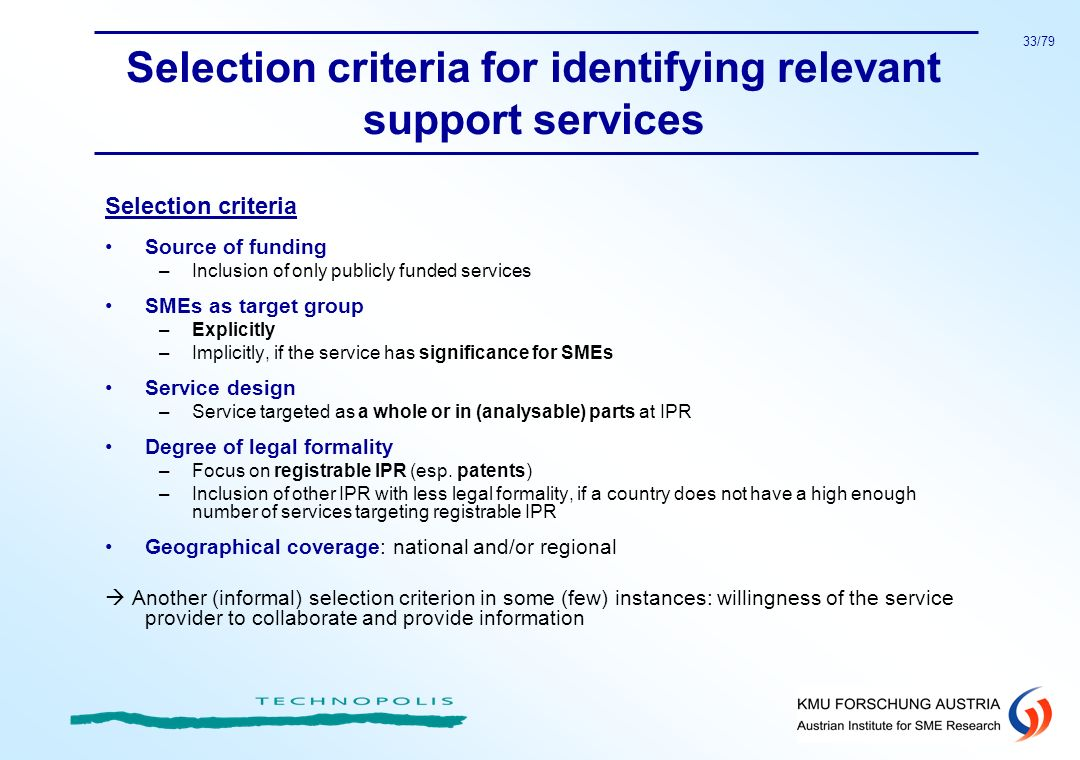Selection criteria for identifying relevant support services
