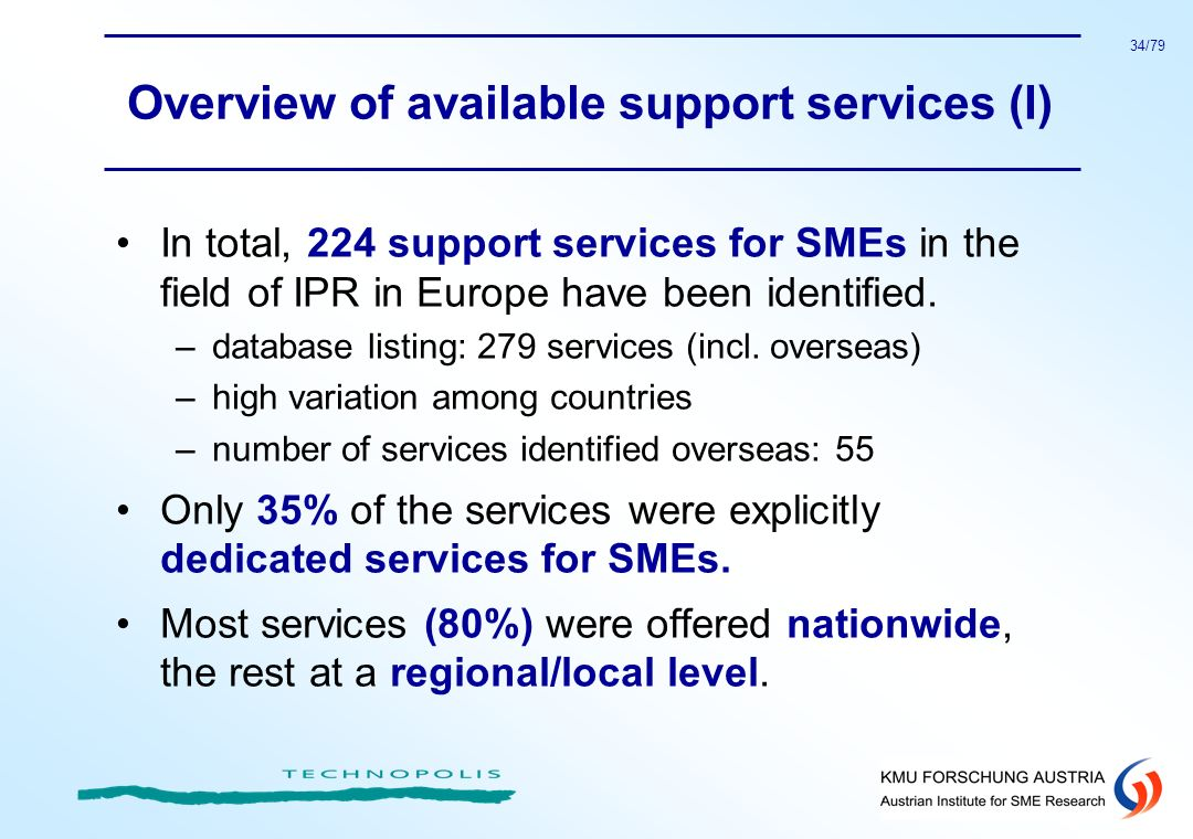 Overview of available support services (I)