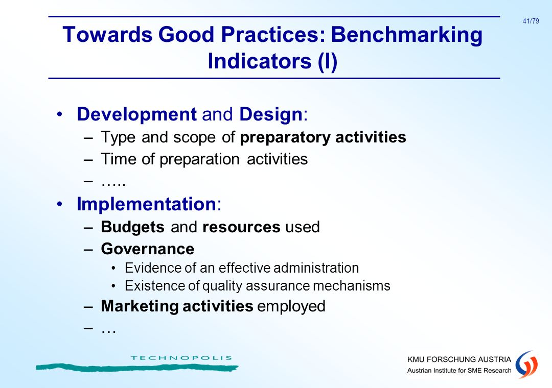 Towards Good Practices: Benchmarking Indicators (I)