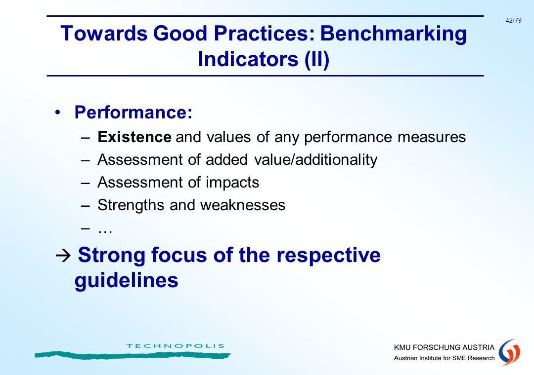 Towards Good Practices: Benchmarking Indicators (II)