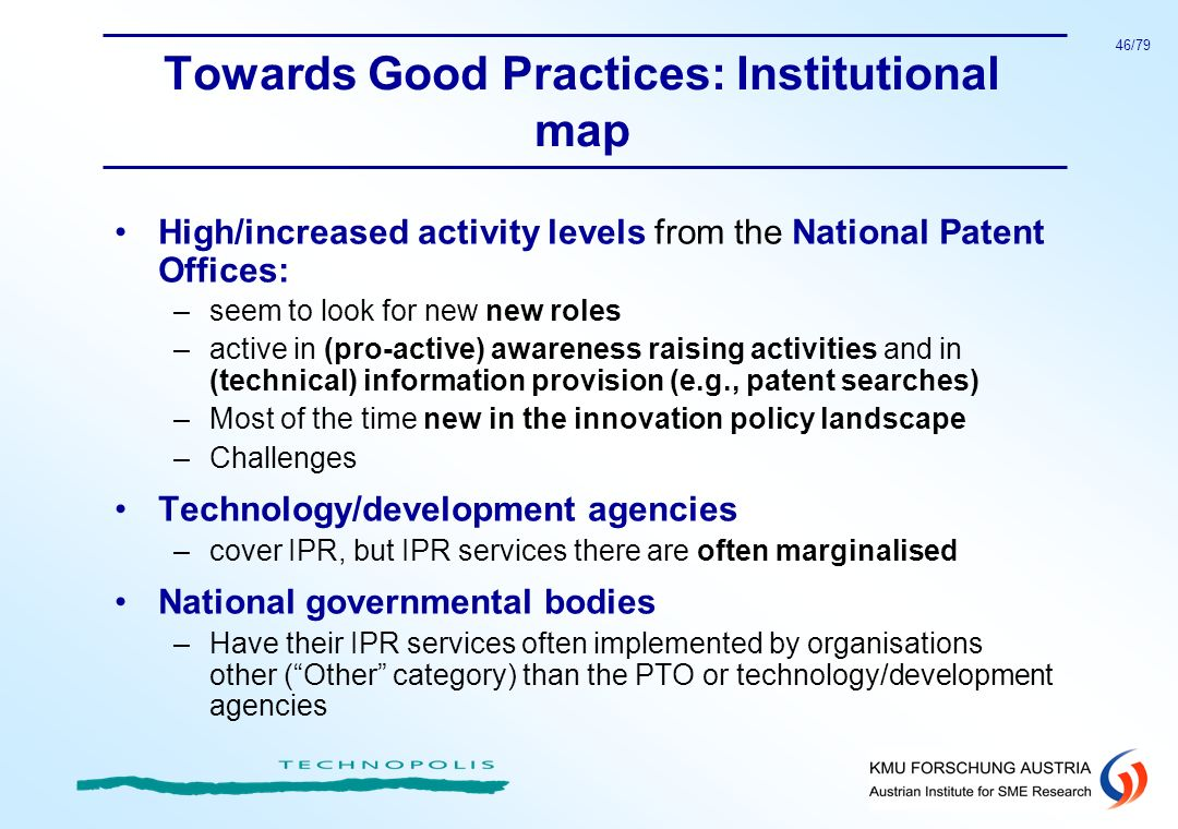 Towards Good Practices: Institutional map