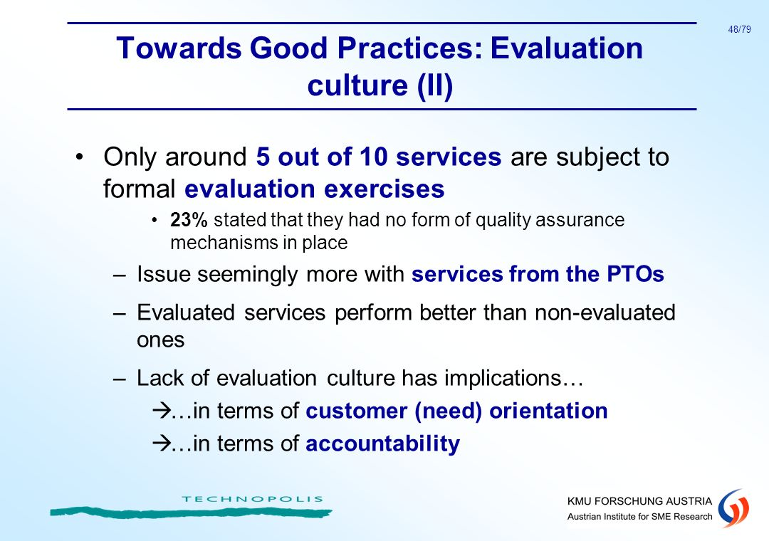 Towards Good Practices: Evaluation culture (II)