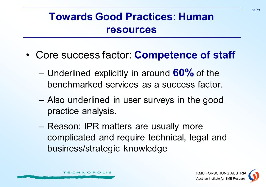 Towards Good Practices: Human resources