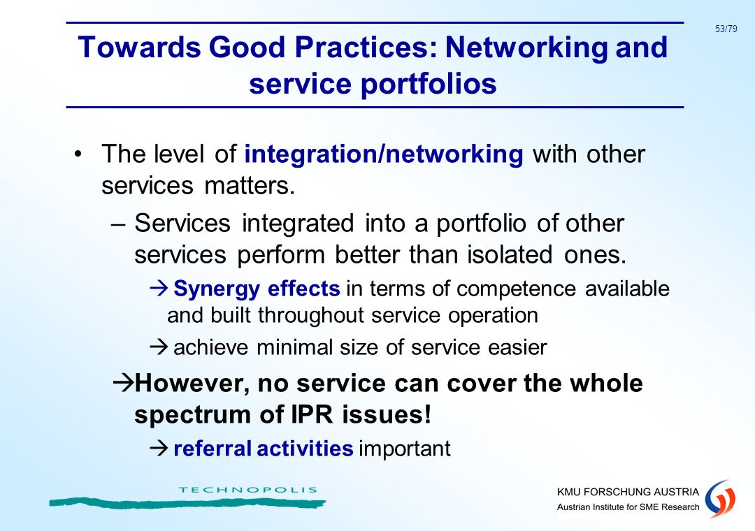 Towards Good Practices: Networking and service portfolios