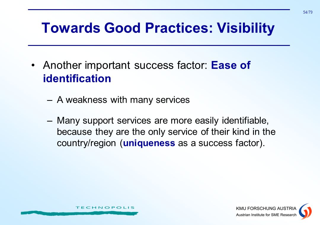 Towards Good Practices: Visibility