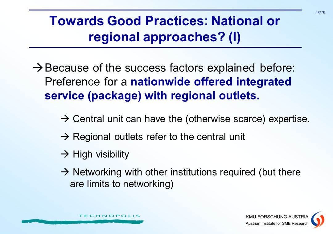 Towards Good Practices: National or regional approaches (I)