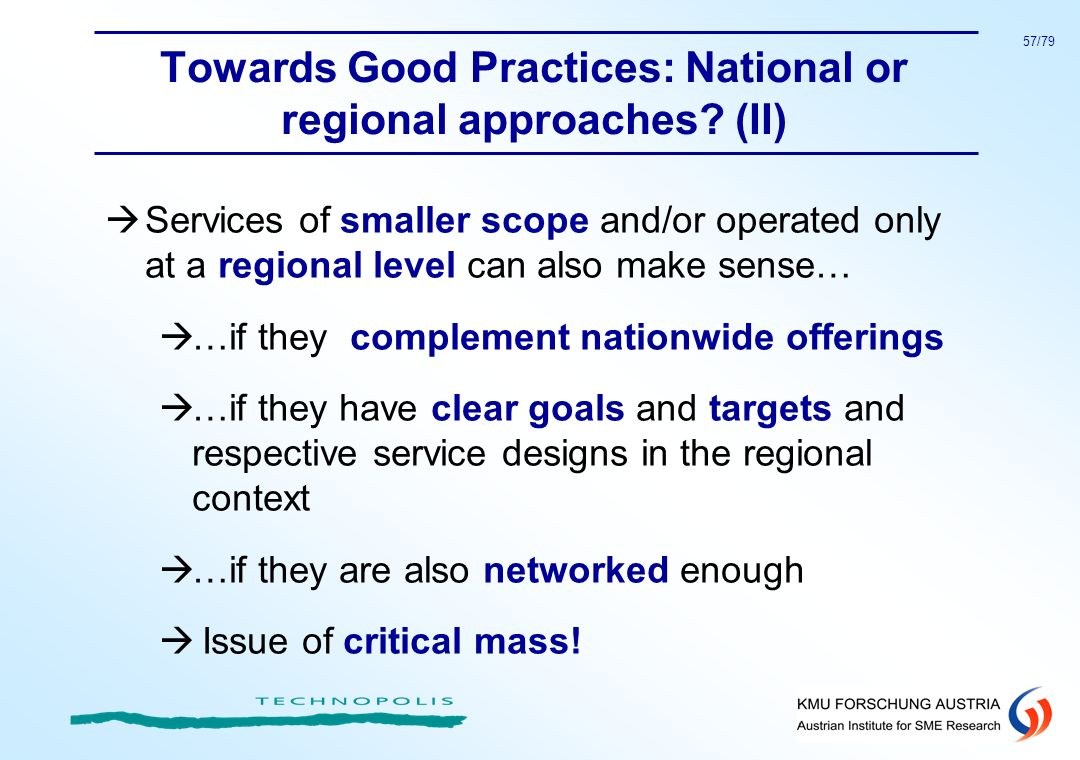 Towards Good Practices: National or regional approaches (II)