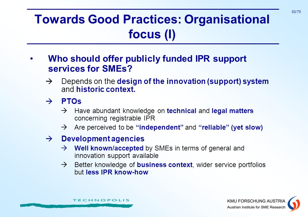 Towards Good Practices: Organisational focus (I)