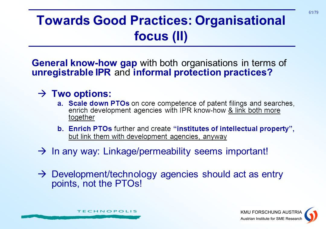 Towards Good Practices: Organisational focus (II)