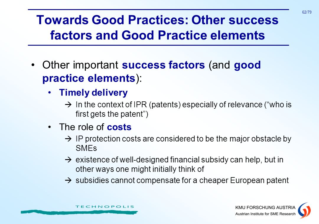 Towards Good Practices: Other success factors and Good Practice elements