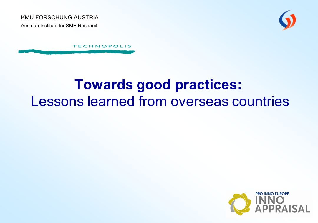Towards good practices: Lessons learned from overseas countries