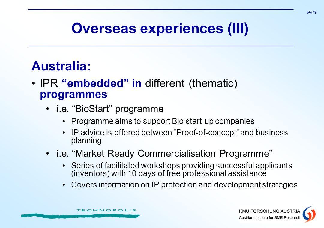 Overseas experiences (III)