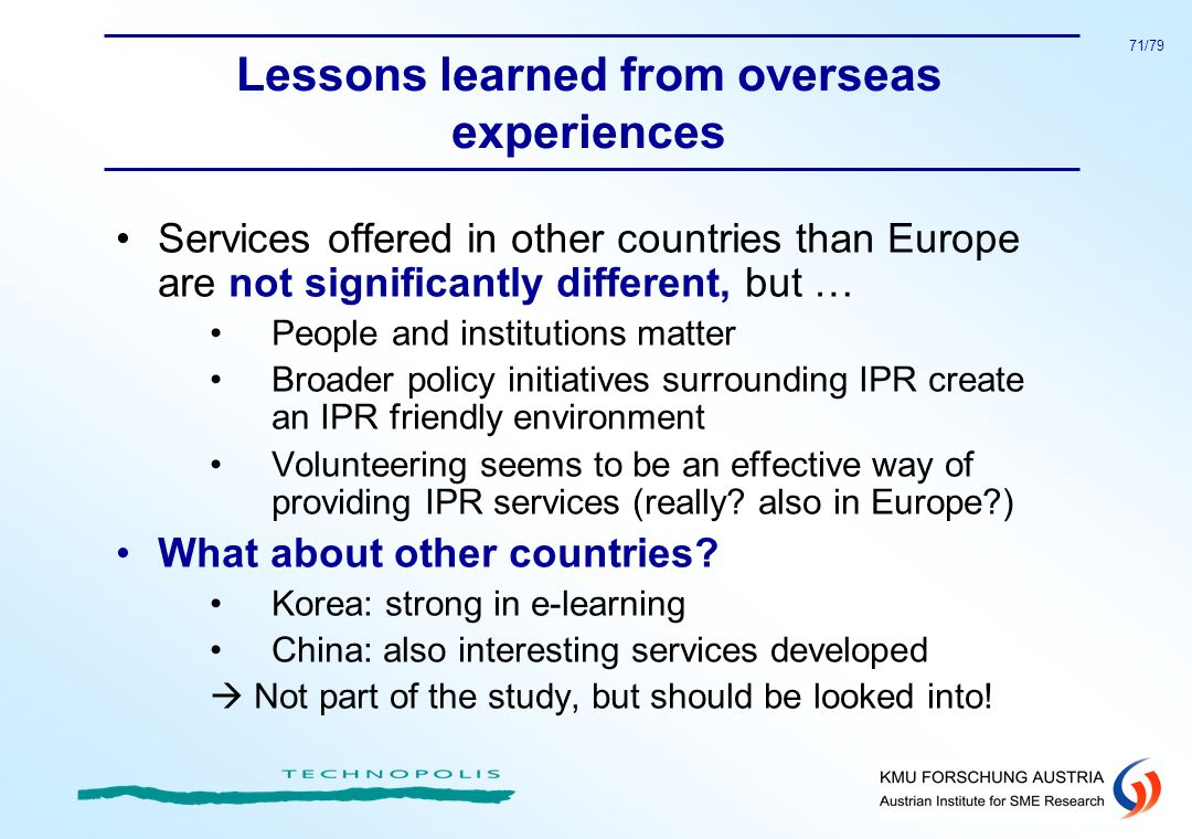 Lessons learned from overseas experiences