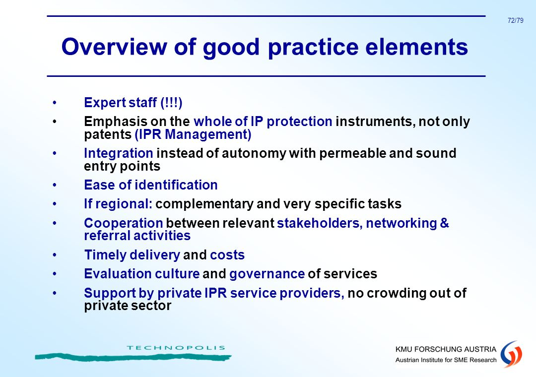 Overview of good practice elements