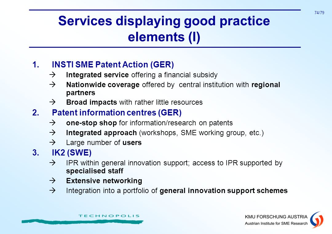 Services displaying good practice elements (I)