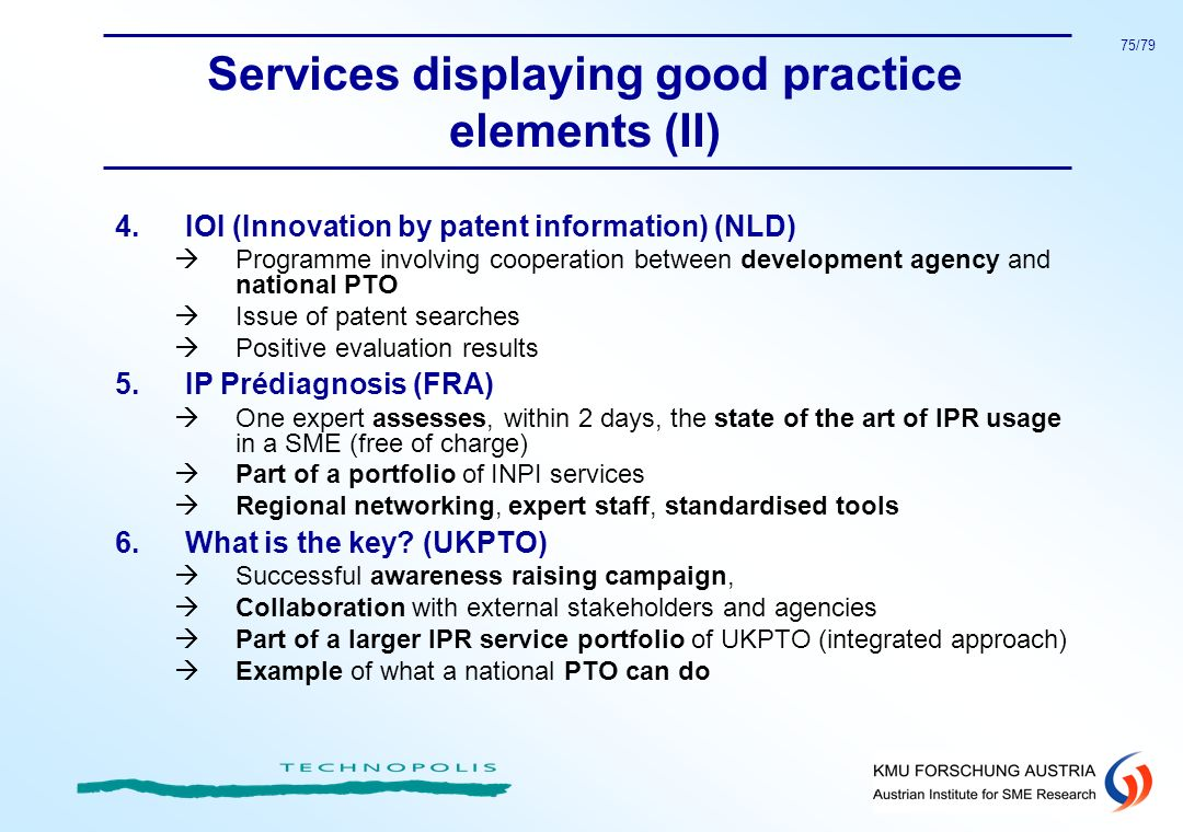 Services displaying good practice elements (II)