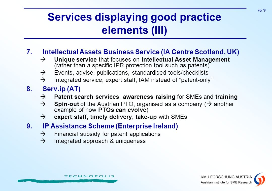 Services displaying good practice elements (III)