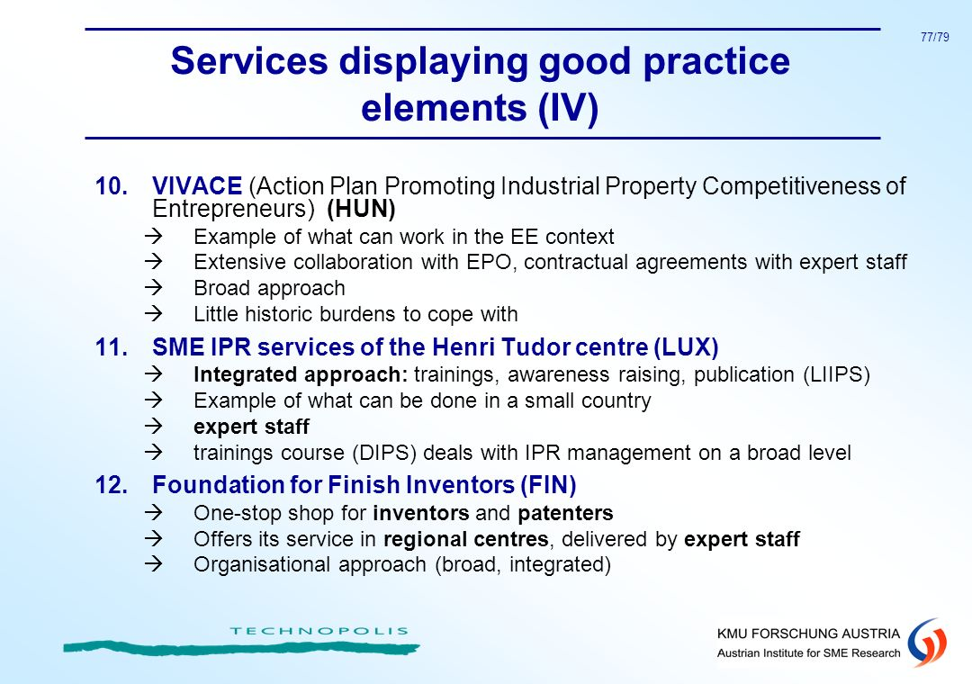 Services displaying good practice elements (IV)