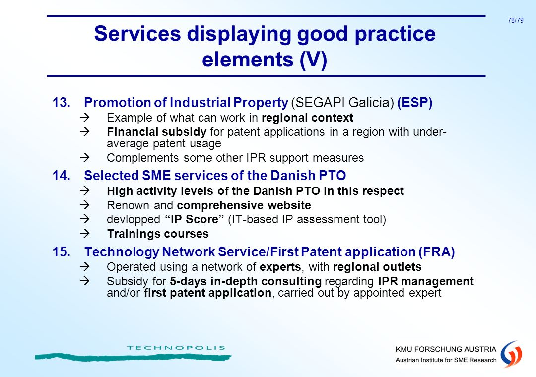 Services displaying good practice elements (V)
