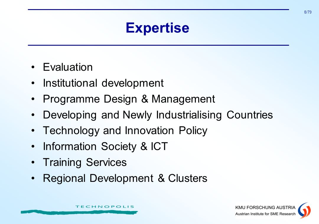 Expertise Evaluation Institutional development