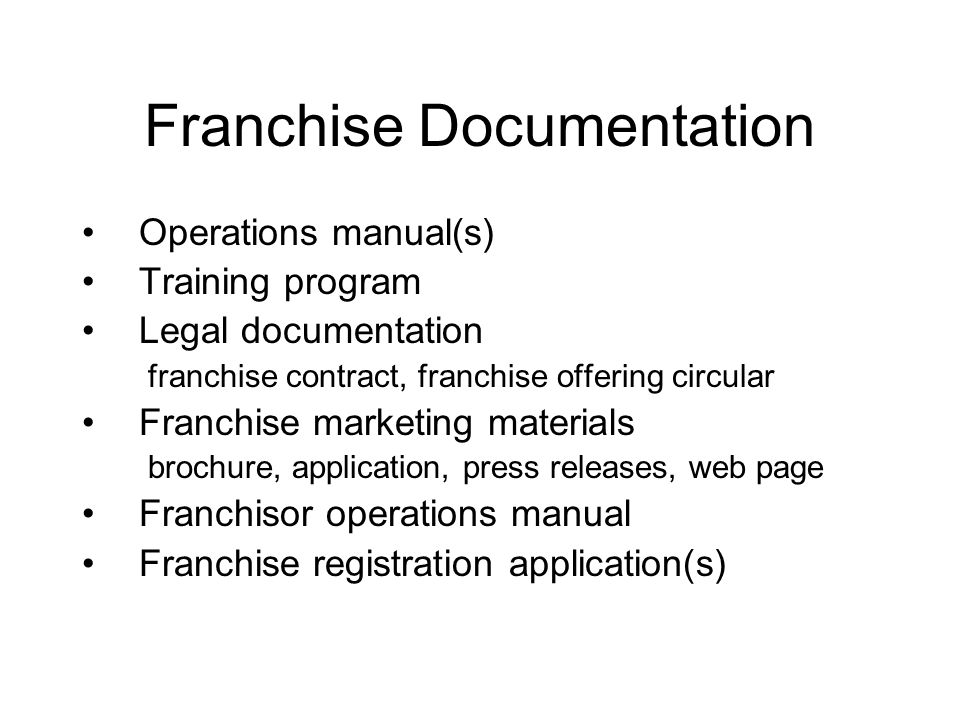 Franchise Documentation