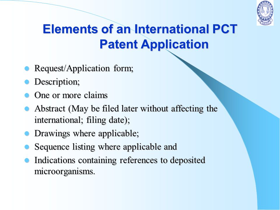 Elements of an International PCT Patent Application