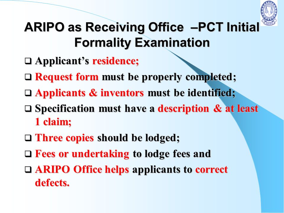 ARIPO as Receiving Office –PCT Initial Formality Examination