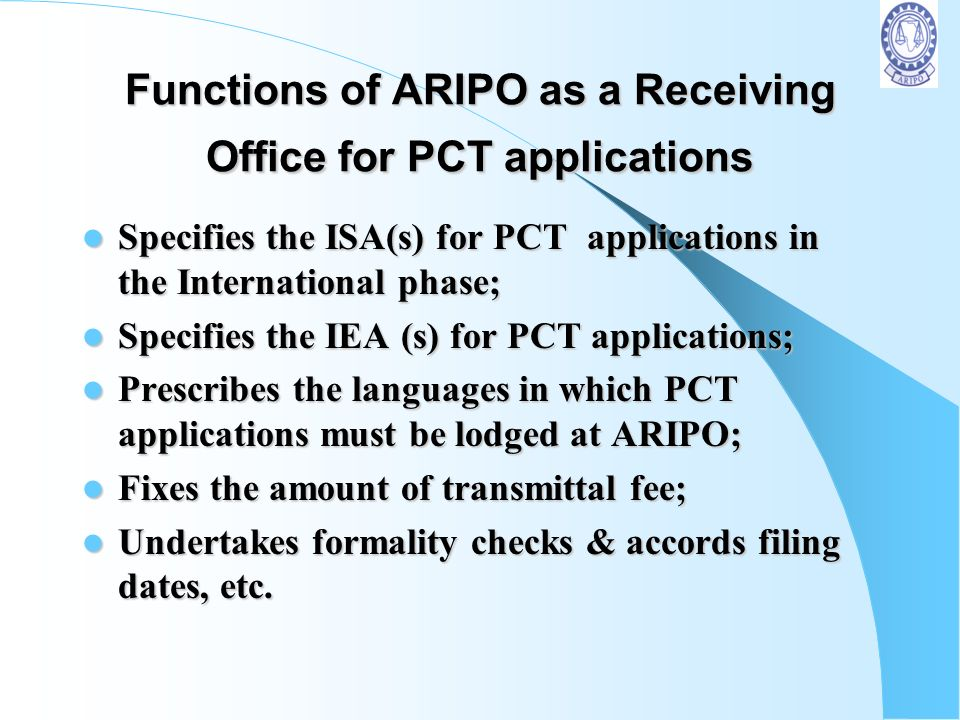 Functions of ARIPO as a Receiving Office for PCT applications