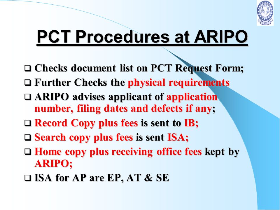 PCT Procedures at ARIPO