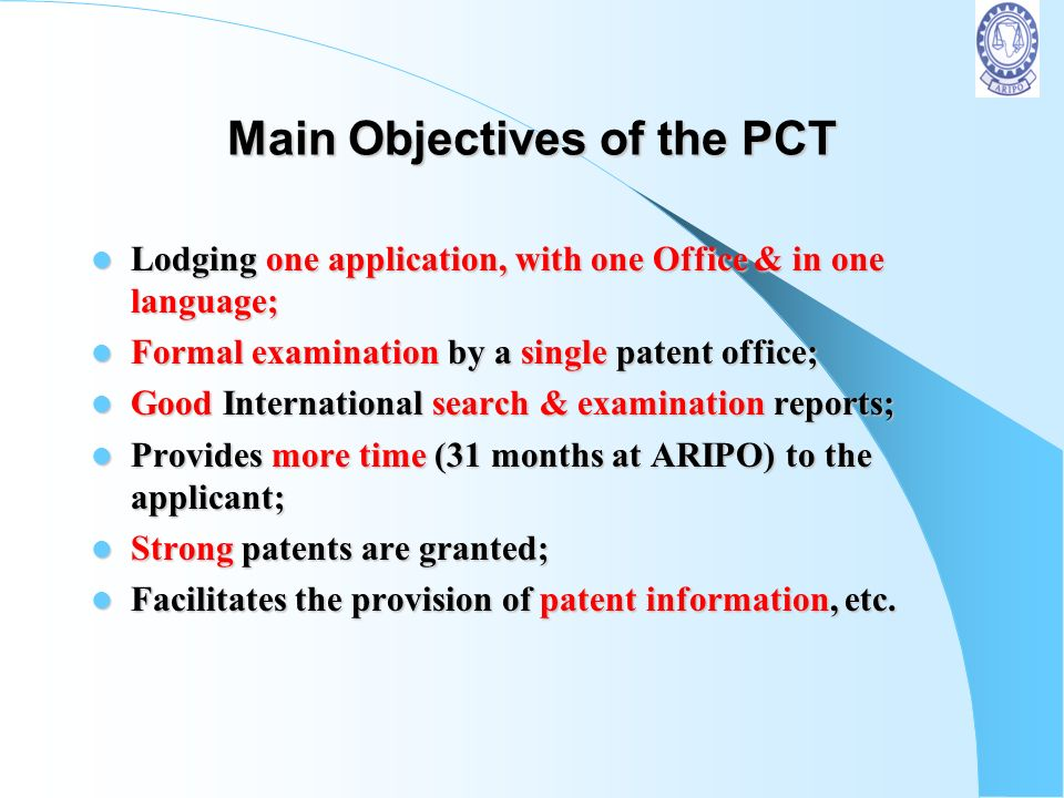 Main Objectives of the PCT