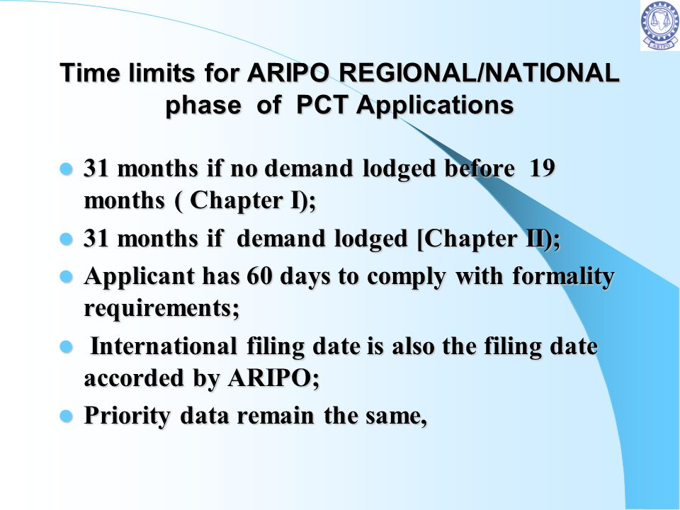 Time limits for ARIPO REGIONAL/NATIONAL phase of PCT Applications