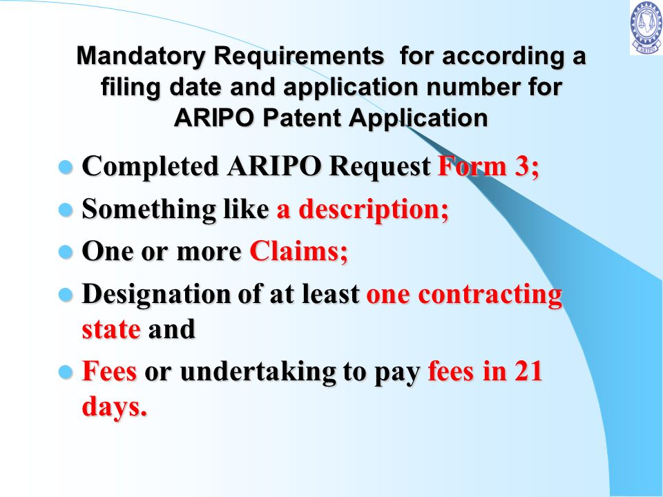 Completed ARIPO Request Form 3; Something like a description;