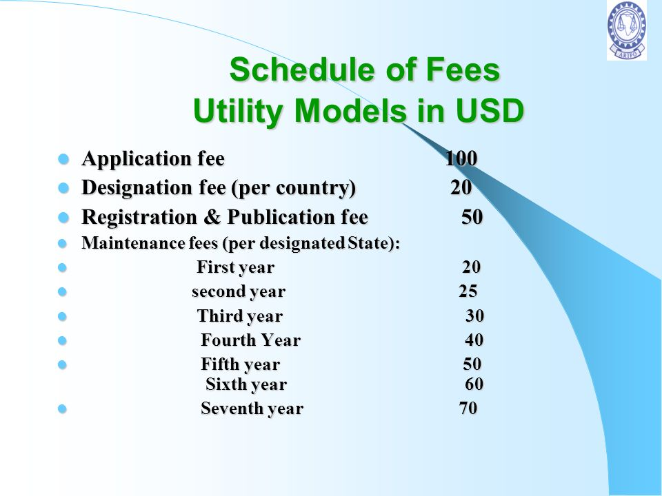 Schedule of Fees Utility Models in USD