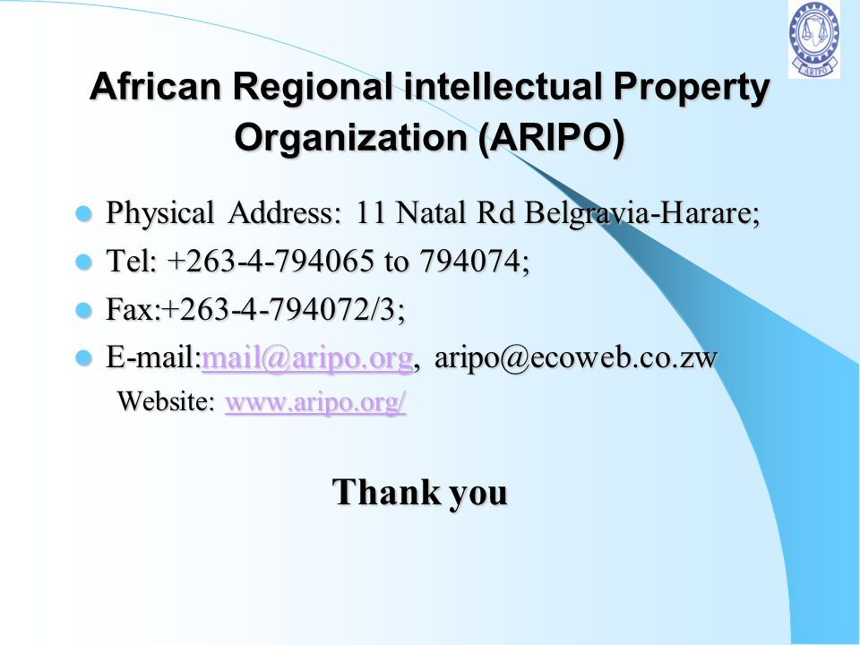 African Regional intellectual Property Organization (ARIPO)