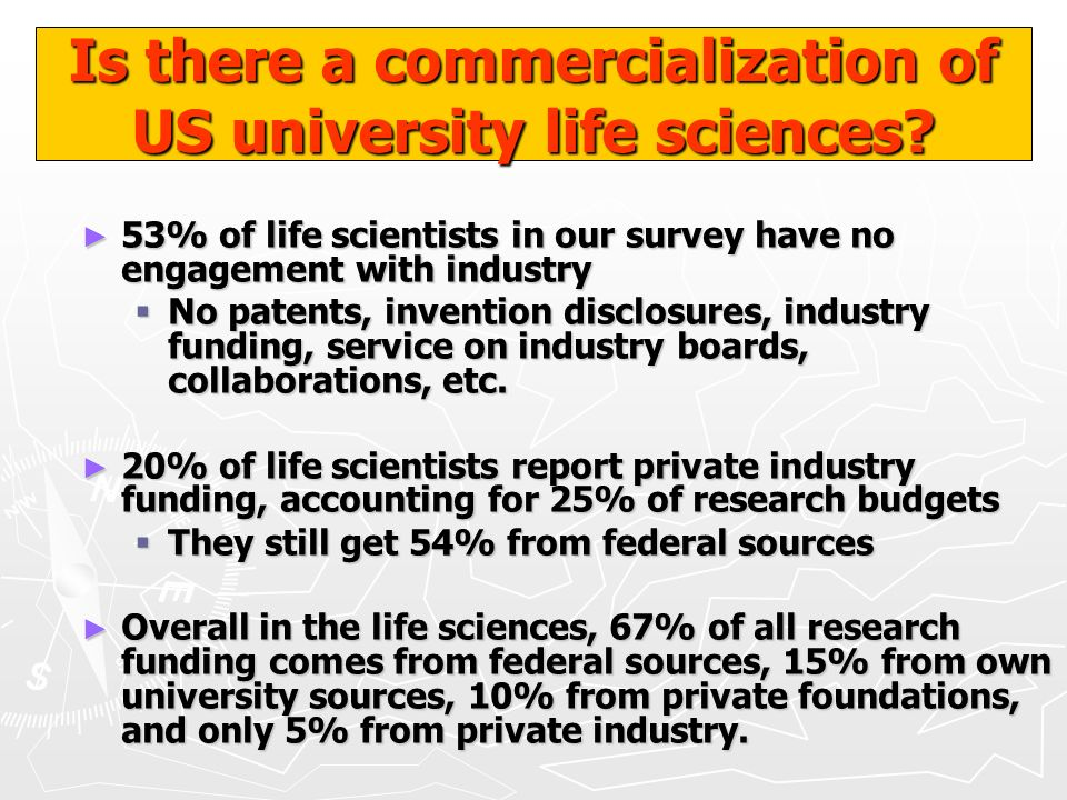 Is there a commercialization of US university life sciences