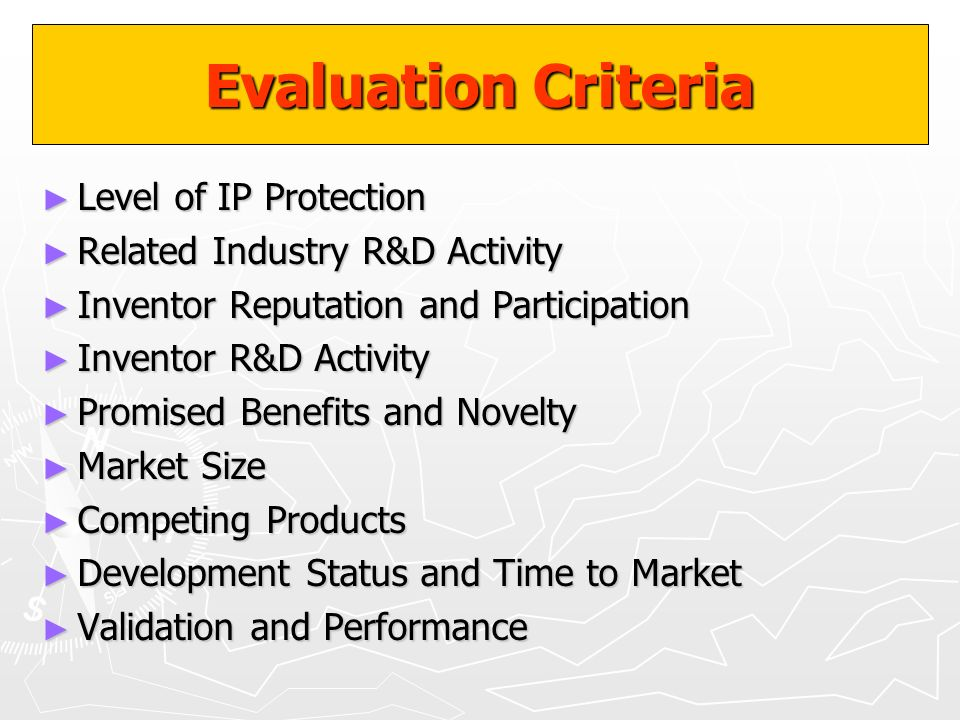 Evaluation Criteria Level of IP Protection