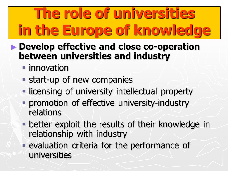 The role of universities in the Europe of knowledge