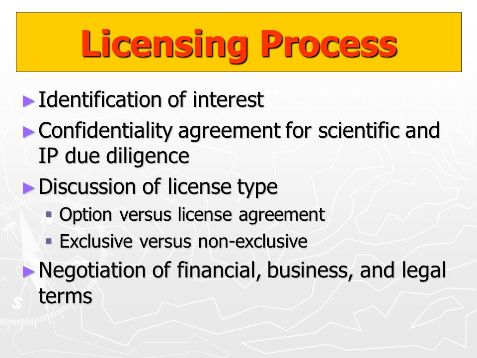 Licensing Process Identification of interest