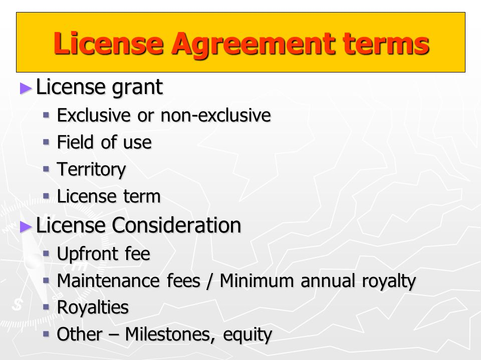 License Agreement terms