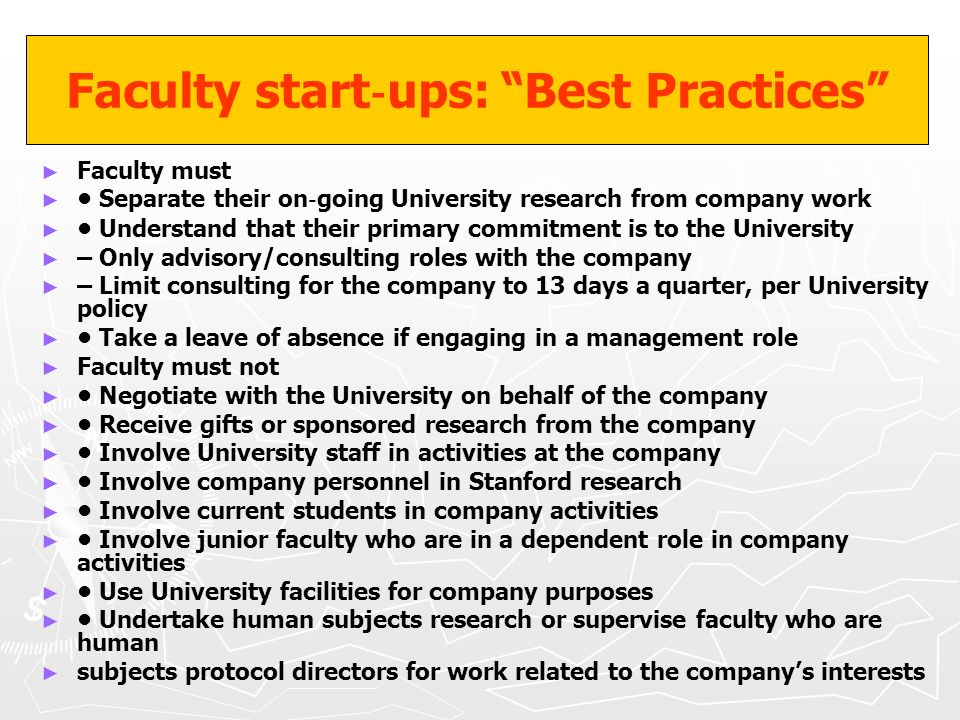 Faculty start‐ups: Best Practices