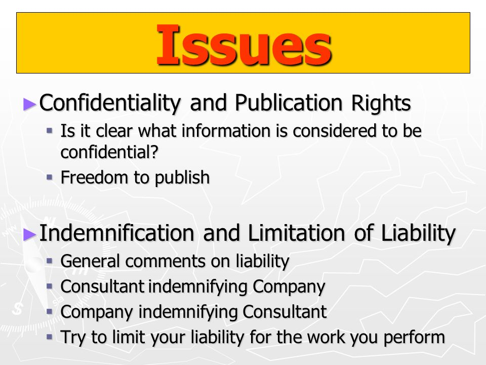 Issues Confidentiality and Publication Rights